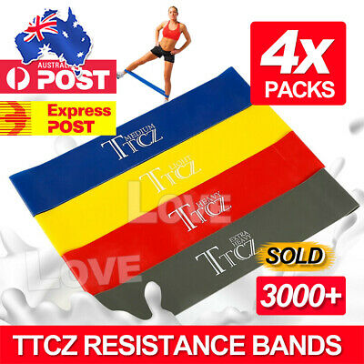 AU6.95 • Buy Resistance Bands Set Of 4 For Exercise Men And Women Legs Arms Booty Yoga Physio