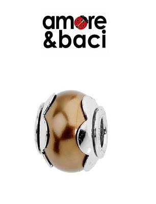 AMORE & BACI 925 Sterling Silver COGNAC FLOWER PEARL Charm Bead RRP £26 • 14.99£