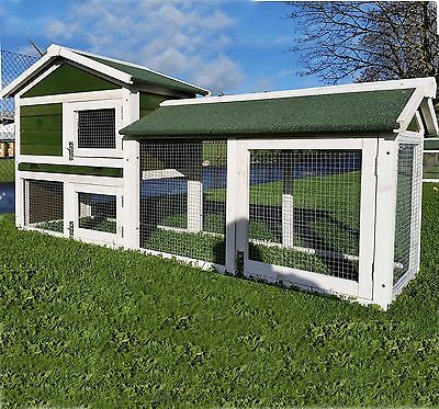 Large Rabbit Hutch Guinea Pig Hutches Run Large Tier Double Decker Cage - Green • 139.99£