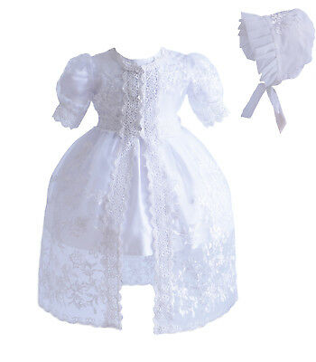 £25.99 • Buy Baby 3 Piece White Lace Christening Gown Party Dress 0 3 6 12 18 24 Months