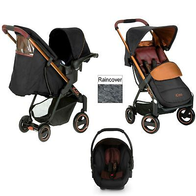 Hauck Icoo Acrobat Shop N Drive Travel System Pushchair+carseat Copper BLACK • 259.99£