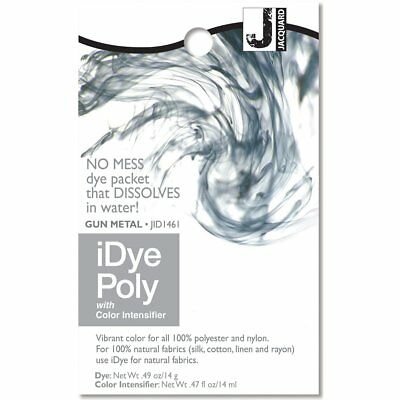 IDye POLY Gun Metal - For Polyester & Nylon Fabrics-  No Mess Packets 14g NEW • 6.85£