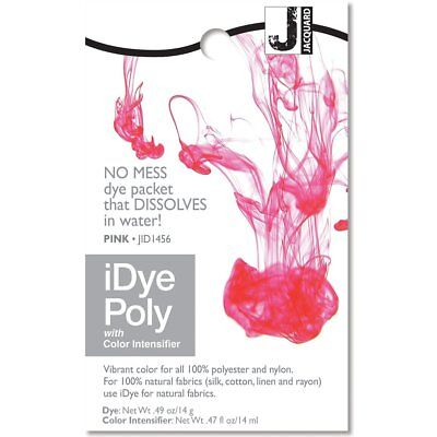 IDye POLY Pink - For Polyester & Nylon Fabrics-  No Mess Packets 14g NEW • 6.85£