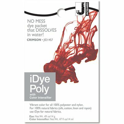 IDye POLY Crimson - For Polyester & Nylon Fabrics-  No Mess Packets 14g NEW • 6.85£