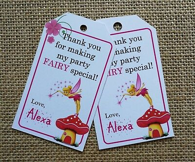 £4.15 • Buy 18x Personalised Fairy Tinkerbell Theme Party Favour Tags Gift Tags Birthday