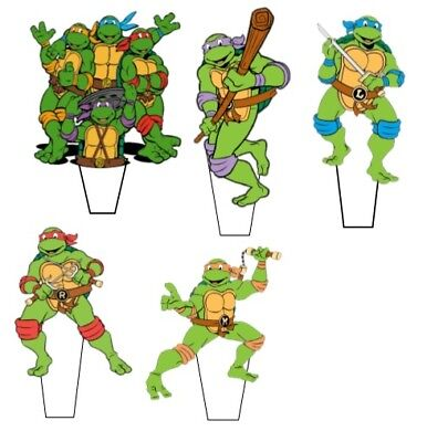 £2.30 • Buy 14 X 3   Ninja Turtle Pre-Cut Stand Up Edible Wafer Cupcake Toppers