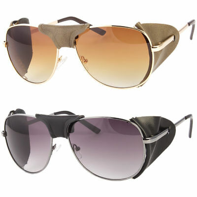 a8fc34eb7cf Faux Leather Side Shield Aviator Sunglasses Classic Motorcycle Wind Guard •  9.99
