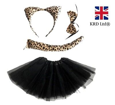 LEOPARD TUTU COSTUME Ladies Kids Girls Halloween Wild Cat Animal Fancy Dress UK • 8.95£