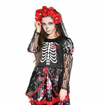 🔥Girls Skeleton Costume Kids Halloween Zombie Bride Fancy Dress Cosplay • 10.63£
