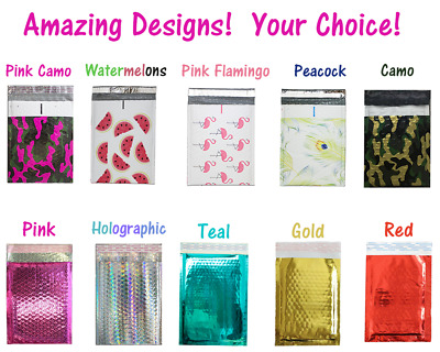 $ CDN10.14 • Buy 6x10 METALLIC BUBBLE MAILER, POLY BUBBLE Design Padded Shipping Bags, Pink,Teal