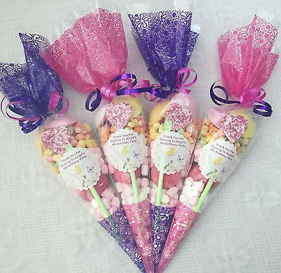 £12.95 • Buy 10 X Tinkerbell  Themed Pre Filled Party Cones Personalised + Free Sweety Bag