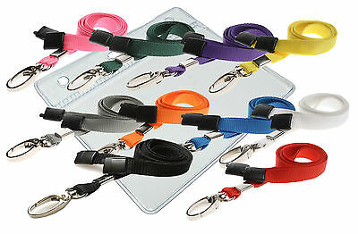Plastic ID Badge Card Pouch Pocket Wallet & Neck Strap Lanyard Lobster Clip Lot • 1.97£