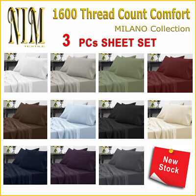 AU23 • Buy Luxury Soft 3pcs Fitted Bed SHEET SET DOUBLE QUEEN KING NO Flat Sheet