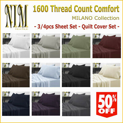 AU23 • Buy Luxury 1600TC Flat Fitted 3/4pcs SHEET SET QUILT COVER - DOUBLE/QUEEN/KING/SUPER