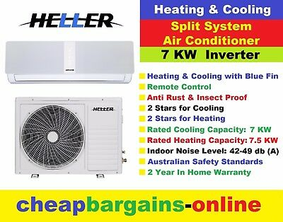 AU1199.99 • Buy Heller Air Conditioner 7 Kw Inverter Split System Heating Cooling 2yr Warranty