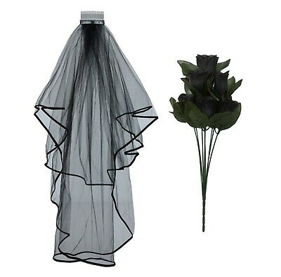 £4.49 • Buy Halloween Corpse Zombie Bride Veil Dead Roses Fancy Dress Gothic Day Of The Dead