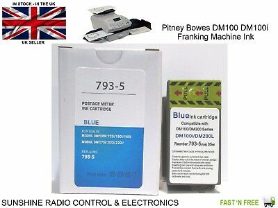 Pitney Bowes Blue Replacement Franking Machine Ink Cartridge PB 32ml For DM100i • 20.10£