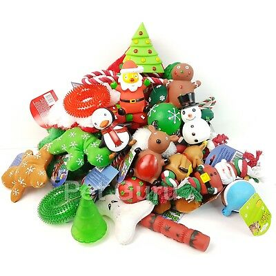Bulk Pack  Christmas  Assorted Pet Dog Squeaky Ball Rope Rubber Fetch Toys • 9.99£