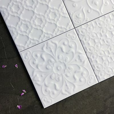 £3.99 • Buy White Victorian Style Raised Pattern Patchwork Wall Tiles SAMPLE 5226S