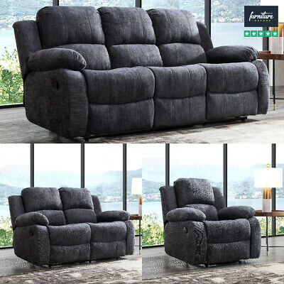 Recliner Sofa Set Fabric Charcoal Grey 3 Piece Suite Sofas Couch Sale 3+2+1 New • 899.99£