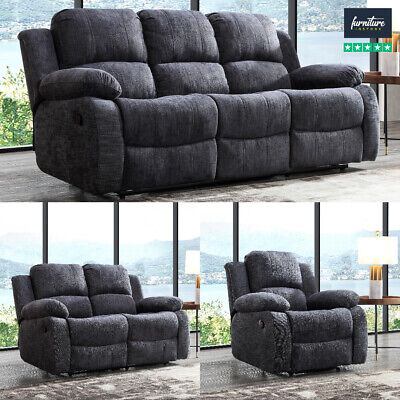 Recliner Sofa Set Fabric Charcoal Grey 3 Piece Suite Sofas Couch Sale 3+2+1 New • 419.99£