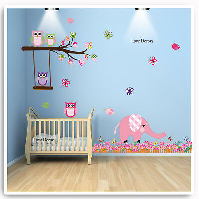 Owl Wall Stickers Elephant Animal Jungle Pink Nursery Baby Bedroom Decal Art • 9.95£