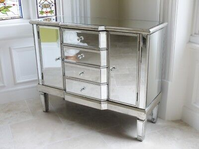£329.99 • Buy Venetian Bow Mirrored Cabinet Silver Glass Bedroom Cabinet With 4 Drawers 3692