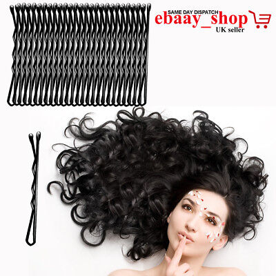 Hair Grips Strong Grip Bobby Pins Slides Clips Clamps Waved Black Pins UK Seller • 1.99£