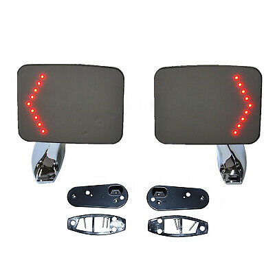 $99.95 • Buy Truck Square Rectangle Chrome Outside Rearview LED Turn Signal Door Mirrors Pair