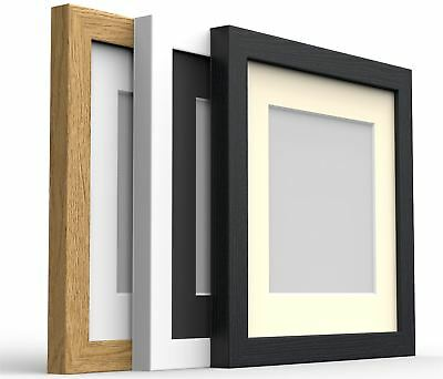 £15.21 • Buy Square Box Photo Picture Frame With Mount Wood Effect Black White Oak Silver