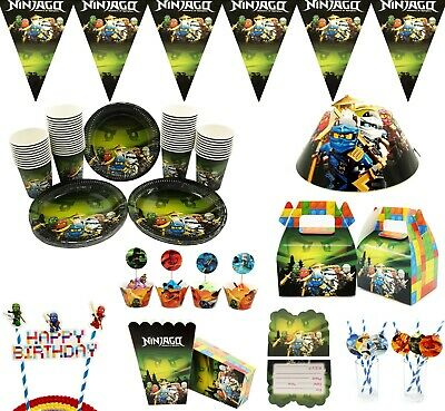 NINJAGO Theme Children Birthday Cake Deco Popcorn Box Straw Flag Party Supply • 3.29£