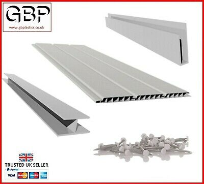 Range Of 300mm White Hollow Soffit Cladding (2 X 2.5M Boards) & Accessories! • 9.59£