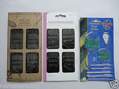 Hand Sewing Needles Assorted Self Threading Repair Embroidery Haberdashery • 1.69£