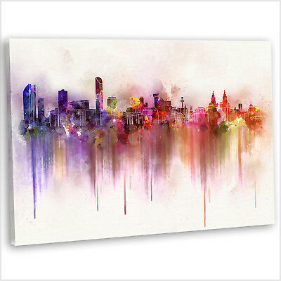 £29.99 • Buy Liverpool Canvas Print Abstract Watercolour Skyline Framed Wall Art Picture ~1