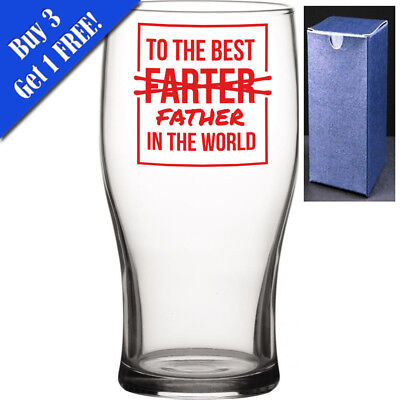 Novelty Pint Beer Cider Glass - To The Best FARTER Father In The World -Dad Gift • 7.95£