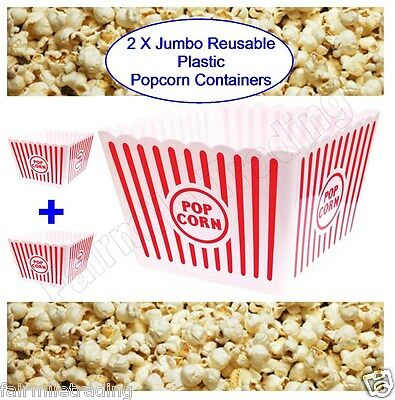 2x Large Jumbo Reusable Plastic Novelty Popcorn Boxes Tub Container Movie Snacks • 6.89£