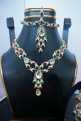 Genuine Indian/Pakistani Bridal Set-Designer Jewellery Set. Multi Coloured Set • 22£