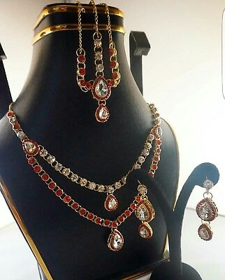 Genuine Indian/Pakistani FormalSet - Designer Jewellery Set. Ruby Red Stones  • 20£