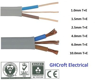 Twin And Earth | T+E | Electrical Cable 6242Y | All Sizes & Lengths | BASEC/UKAS • 15.59£