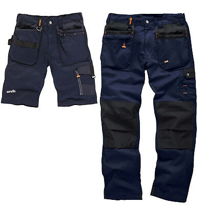 Scruffs Worker Plus Navy Work Trousers And Trade Shorts TWIN PACK Mens Cargo • 57.95£