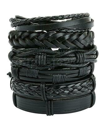 $7.51 • Buy 6Pcs Black Braided Leather Bracelet For Men Women Cuff Bangle Wrap Wristband Set