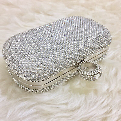 £15 • Buy Silver Diamante Faux Diamond Crystal Ring Clutch Bag Purse Party Prom Wedding