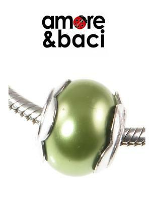 £14.99 • Buy AMORE & BACI 925 Sterling Silver SAGE GREEN FLOWER PEARL Charm Bead RRP £26