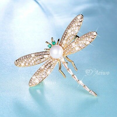 £20.05 • Buy 18k Yellow Gold Gp Made With Swarovski Clear Green Crystal Dragonfly Pin Brooch