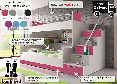 Modern Double Bunk Bed Storage Drawer Cabinets Stairs Bedroom For Boy And Girl • 689£