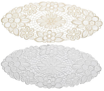 Pack Of 6 Floral Lace Oval Doilies Traditional Doyleys Vintage Home Table Mat • 6.99£