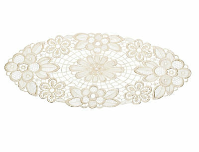 Cream Pack Of 6 Floral Lace Oval Doilies Traditional Table Dressing Home Mats • 6.99£