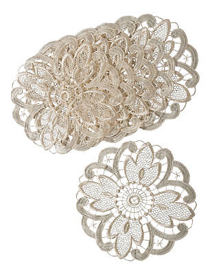 Cream Floral Lace Pack Of 6 Round Doilies Traditional Table Linen Dressing Mats • 6.79£