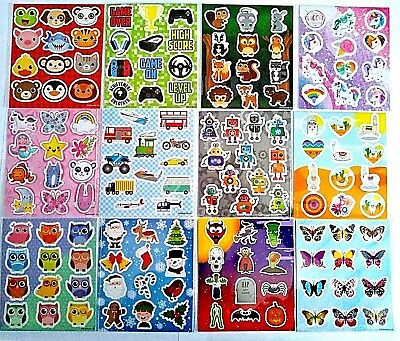Childrens Stickers Sticker Sheets Party Bag Fillers Craft Kids Reward Charts • 1.89£
