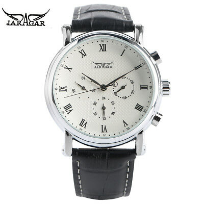 JARAGAR Fashion Mens Watches Automatic Mechanical Movement Genuine Leather Band • 17.08£
